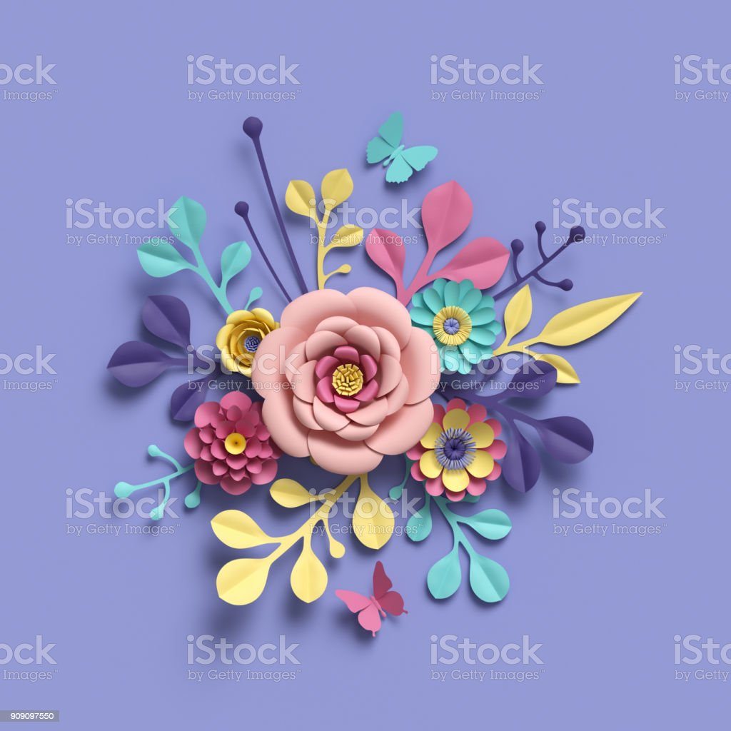 3d Rendering Abstract Round Floral Bouquet Botanical Background