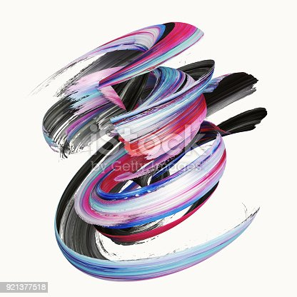 istock 3d rendering, abstract twisted brush stroke, paint splash, splatter, colorful curl, artistic spiral, vivid ribbon 921377518