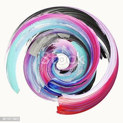 istock 3d rendering, abstract twisted brush stroke, paint splash, splatter, colorful circle, artistic spiral, vivid ribbon 921377602
