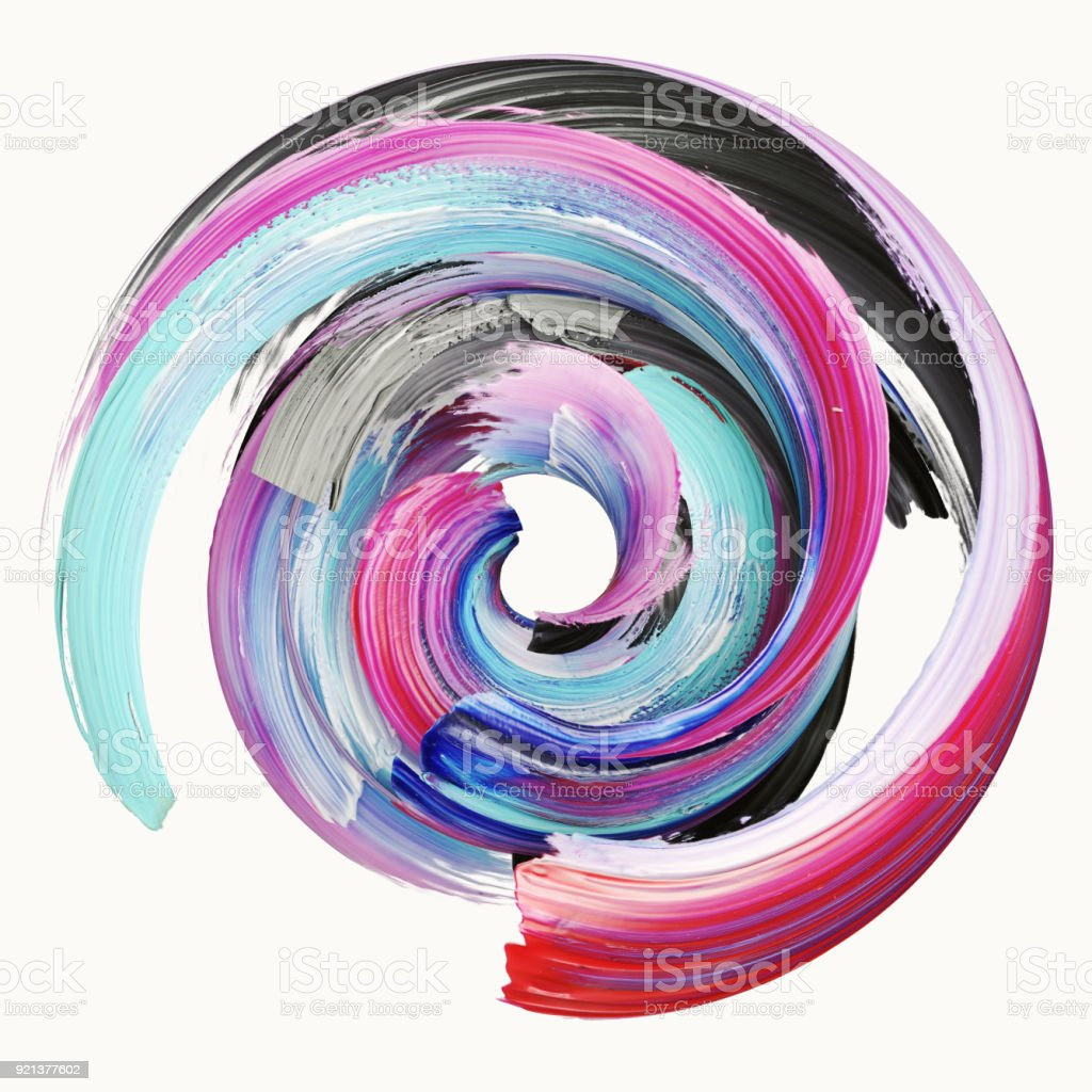 3d rendering, abstract twisted brush stroke, paint splash, splatter, colorful circle, artistic spiral, vivid ribbon stock photo