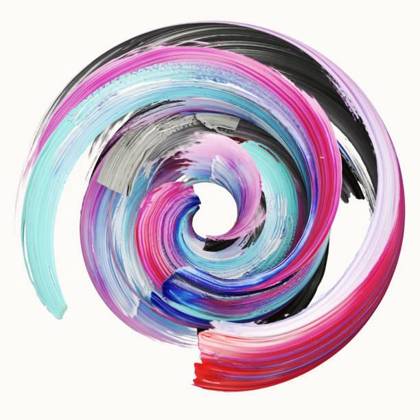 Render 3D, abstracto pincelada torcido, salpicaduras de pintura, salpicaduras, círculo colorido, espiral artística, cinta vivida - foto de stock