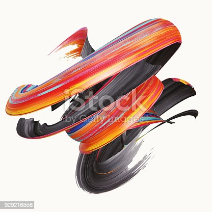 921375446istockphoto 3d rendering, abstract twisted brush stroke, paint splash, splatter, colorful curl, artistic spiral, vivid hieroglyph 929216558