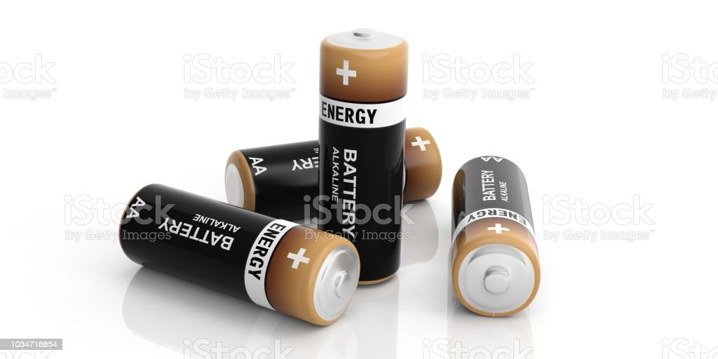 3d rendering alkaline batteries on white background stock photo