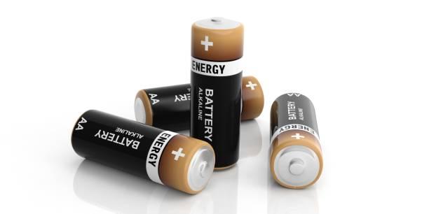 3d rendering alkaline batteries on white background stock photo