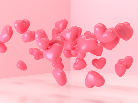 3d rendering balloon heart shape glossy pink levitation room love surprise valentine gift concept