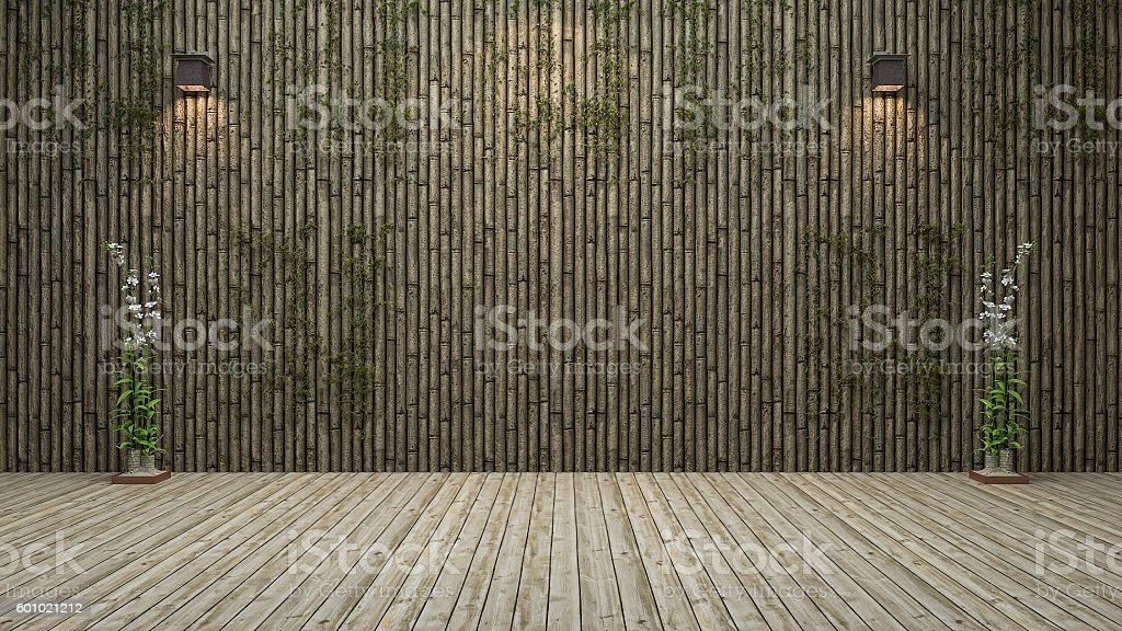 3d rendering bamboo wall room with natural decoration stock photo