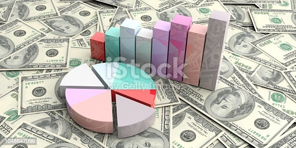 istock 3d rendering bar and pie charts on 100 dollars background 1048647096