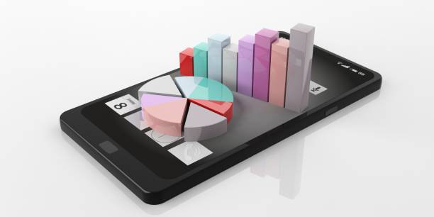 3d rendering bar and pie charts on a smart phone stock photo
