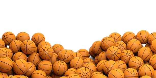 3d rendering basket balls background stock photo