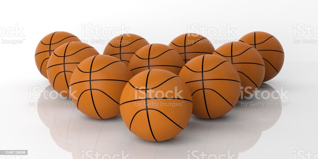 3d rendering basketballs on white background stock photo