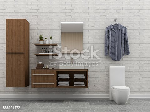 istock 3d rendering bathroom with white wall and shirt 636521472