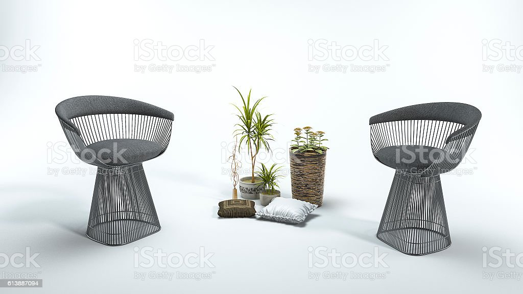 3d rendering beautiful armchair with plant in white background stock photo