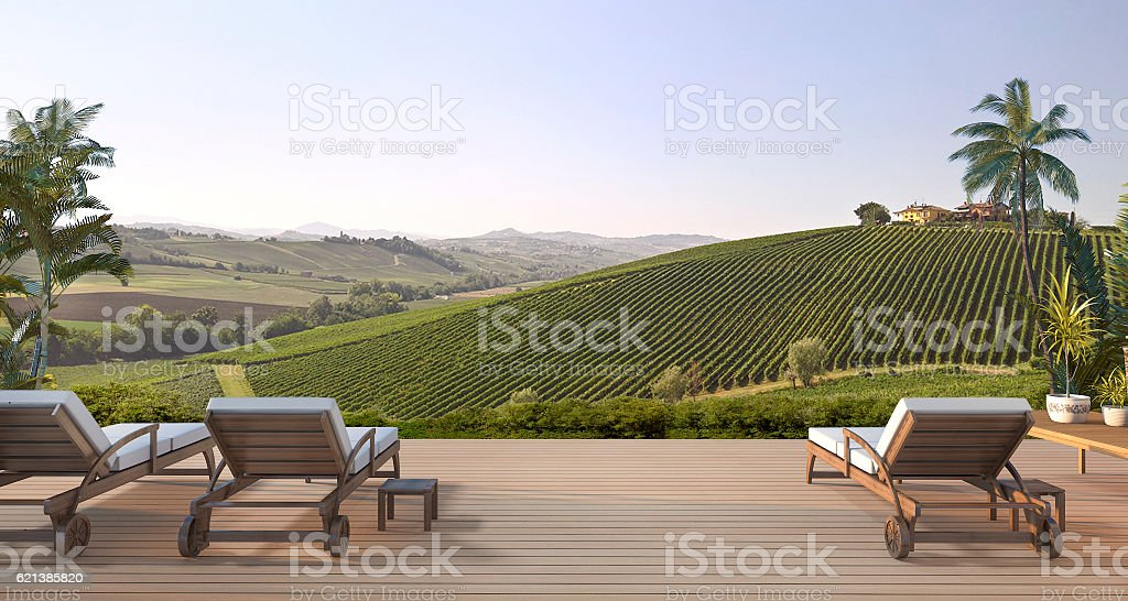 3d rendering beautiful beach bed on terrace near green hill stock photo