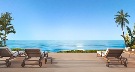 3d rendering beautiful beach bed on terrace near  sea