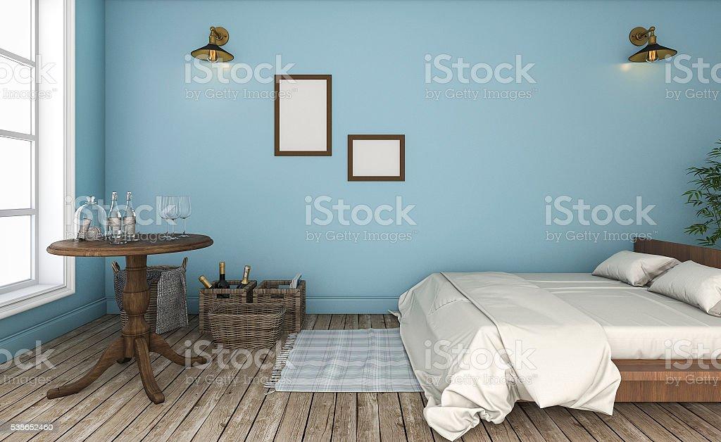 3d rendering beautiful blue wall vintage bedroom stock photo