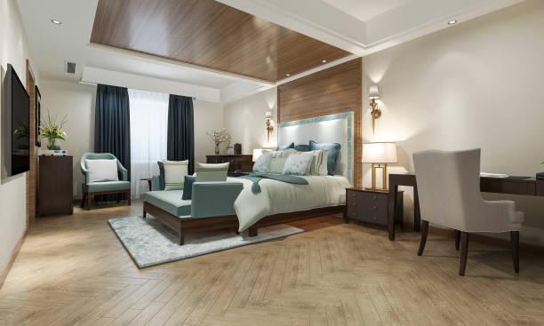 3d Rendering schöne klassische Luxus-Schlafzimmer-Suite im Hotel mit TV und Arbeitstisch und europäischen Stil Möbel – Foto
