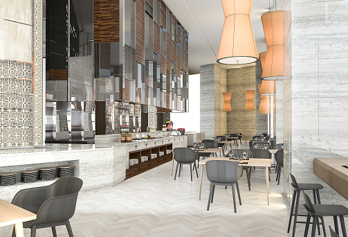 3d rendering beautiful contemporary restaurant with great design