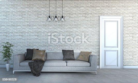 istock 3d rendering beautiful huge sofa in bright living room 538490328