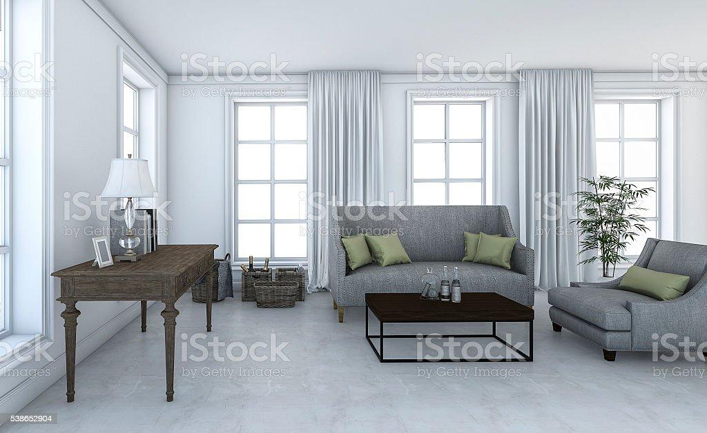 3drendering Herrliche Loft Wohnzimmer Mit Dezenten Einrichtung Stock