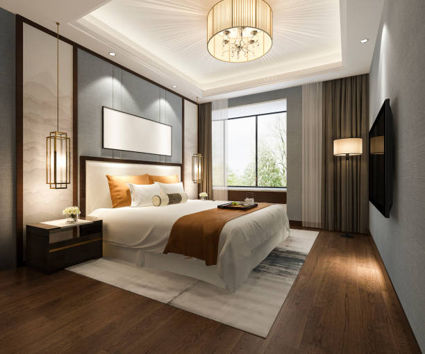 3d rendering beautiful luxury bedroom suite in hotel with tv 3d rendering interior and exterior design luxury hotel room stock pictures, royalty-free photos & images
