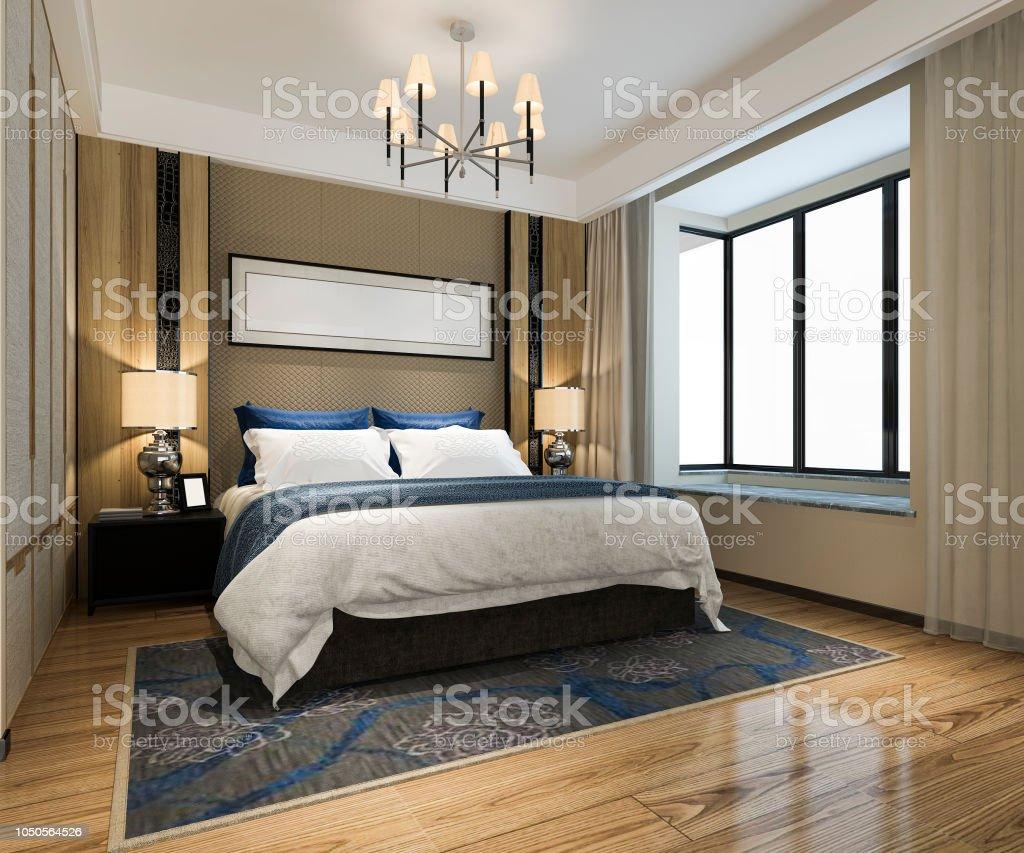3d Rendering Beautiful Luxury Bedroom Suite In Hotel With Tv ...