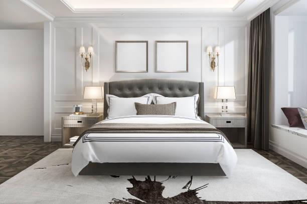 3d rendering schöne luxus-schlafzimmer-suite im hotel mit tv - schlafzimmer stock-fotos und bilder