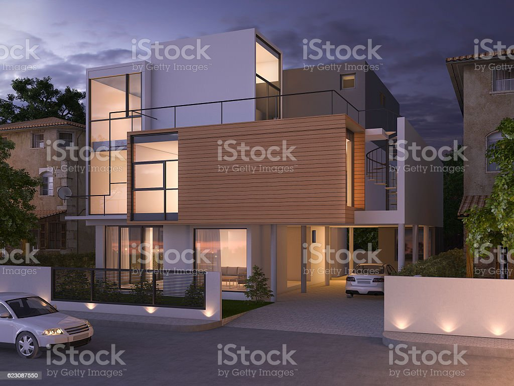 3d rendering beautiful modern design black brick house at night - Photo