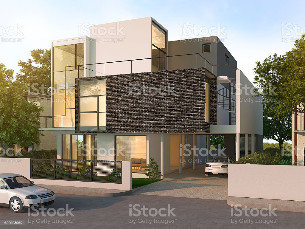 3d rendering beautiful modern design black brick house stock photo