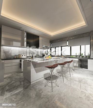 istock 3d rendering beautiful modern kitchen with dining bar 969438710