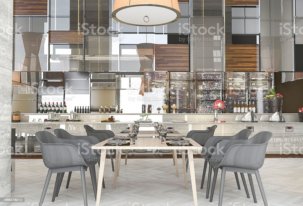 3d rendering beautiful modern restaurant with great design stock photo