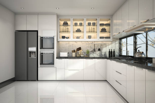 3d rendering beautiful modern white kitchen with marble decor - kitchen imagens e fotografias de stock