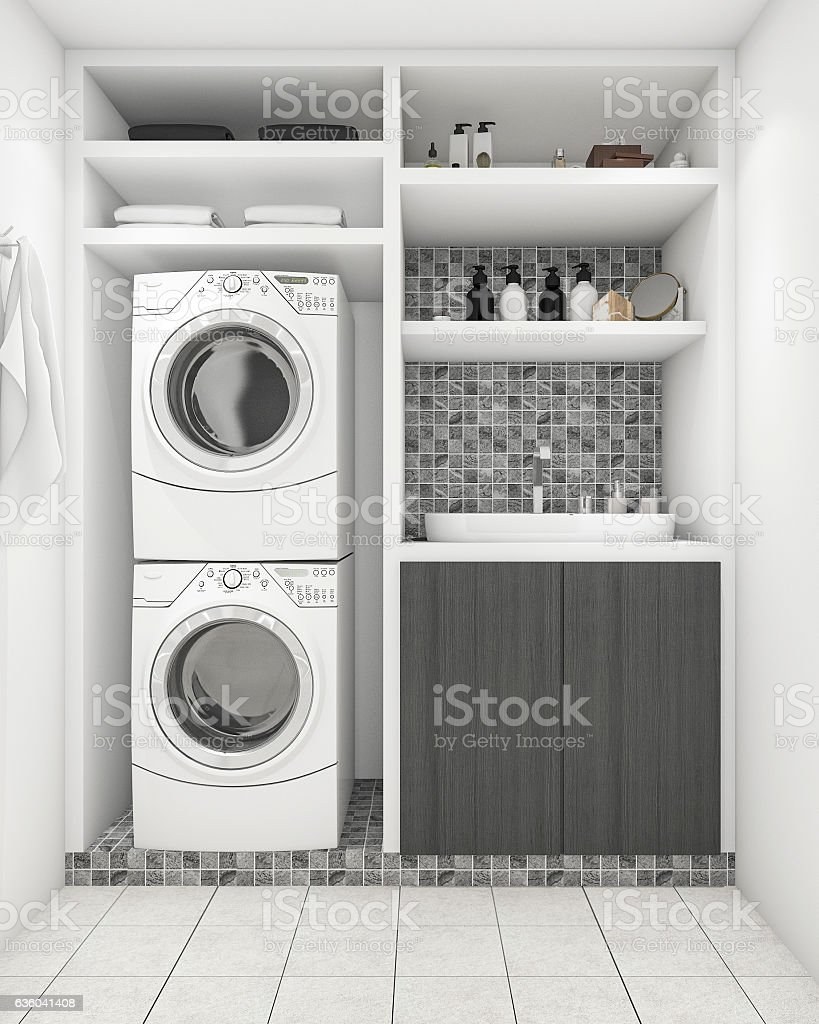 3d Rendering Beautiful Modern White Laundry Room With Decoration Stock Photo Download Image Now Istock