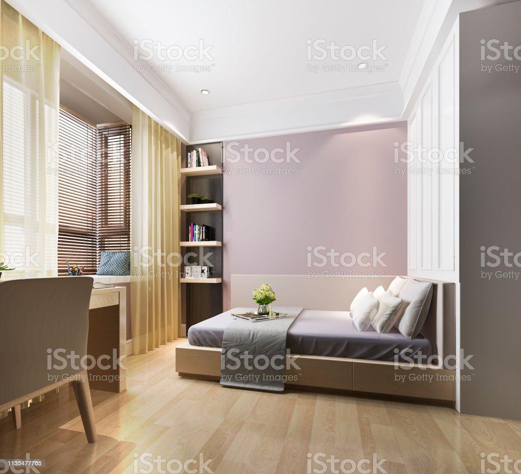 3d Rendering Beautiful Pink Vintage Kid Bedroom Stock Photo ...