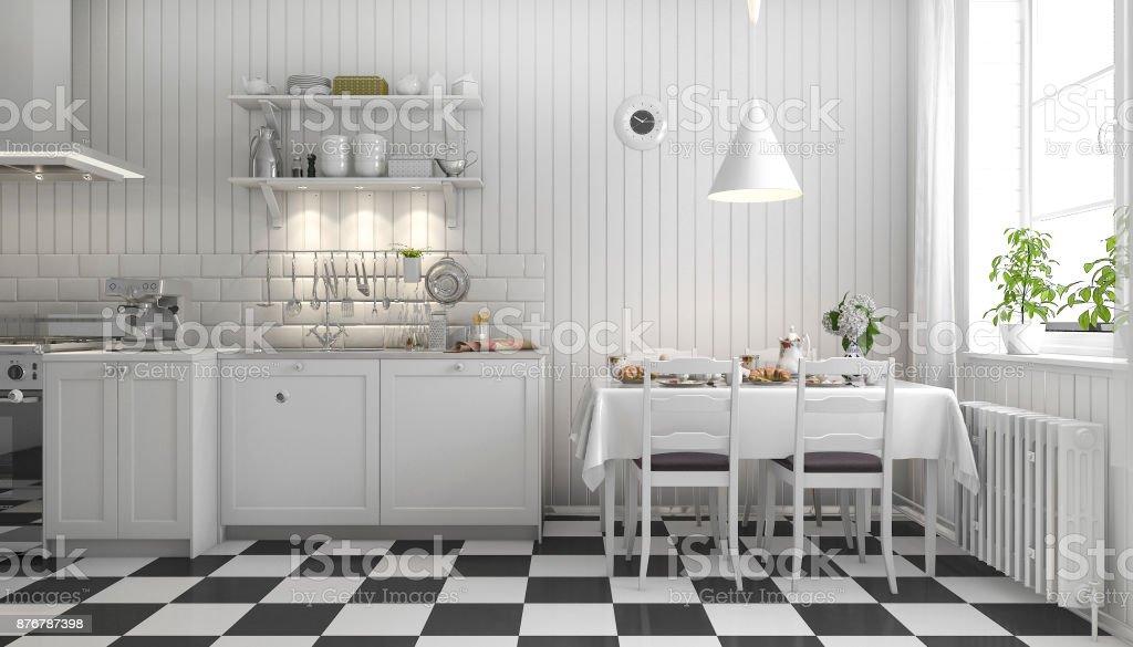 Photo Libre De Droit De 3d Rendu Belle Cuisine Scandinave Avec Decor De Carrelage Noir Banque D Images Et Plus D Images Libres De Droit De Ameublement Istock