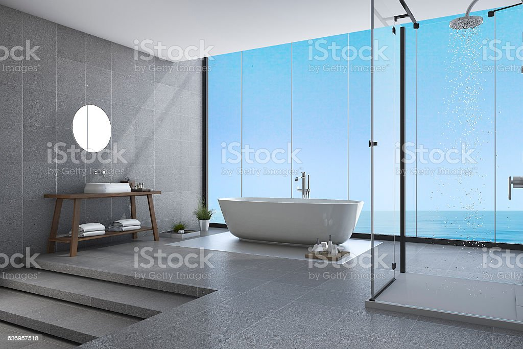 3d rendering beautiful steps modern bathroom near sea view stock photo