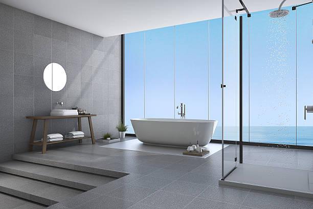3d rendering beautiful steps modern bathroom near sea view - minimalbadezimmer stock-fotos und bilder