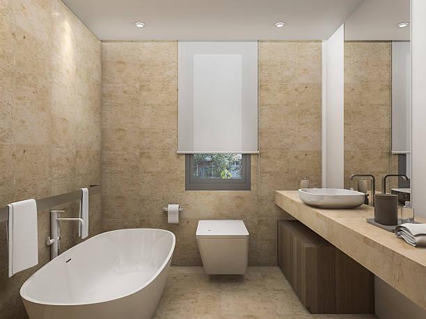 3d rendering beautiful warm tone toilet with bright atmosphere - badezimmer rustikal stock-fotos und bilder