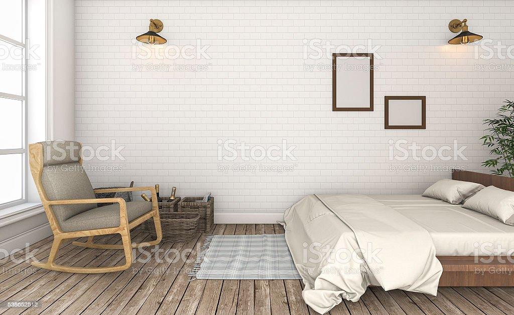Renderowanie 3d Piękna Biała ściana Z Cegły W Stylu Vintage