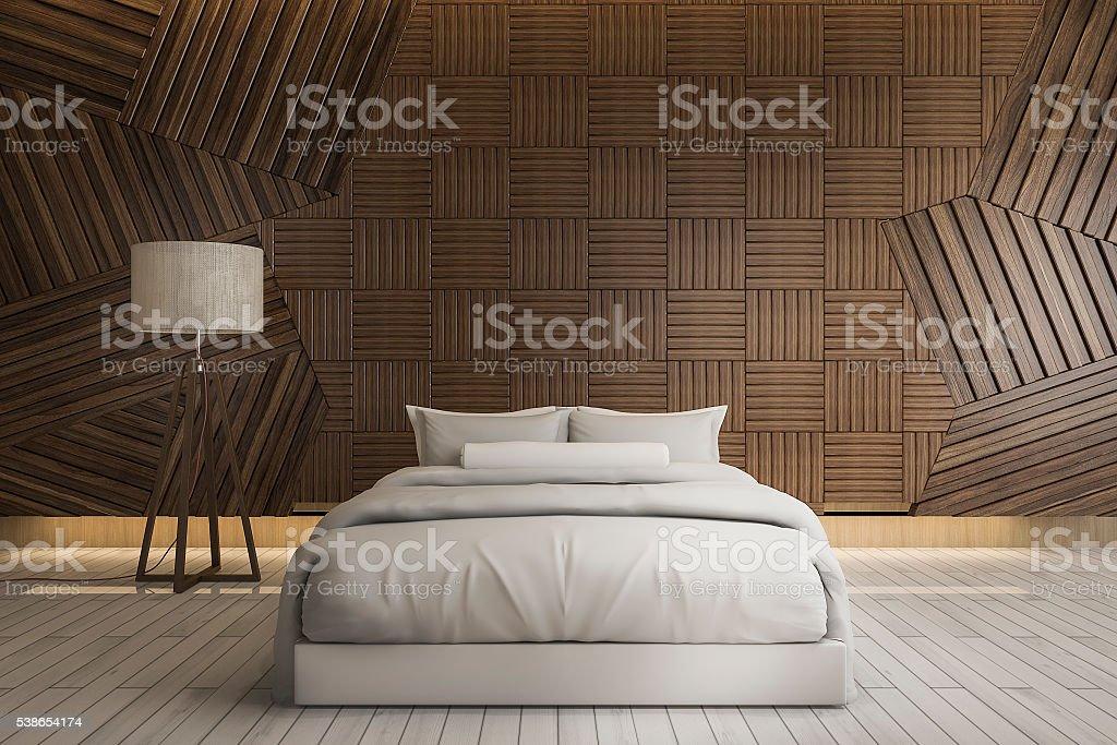 Pareti In Legno Bianco : Rendering d bellissimo bianco pulito da letto matrimoniale