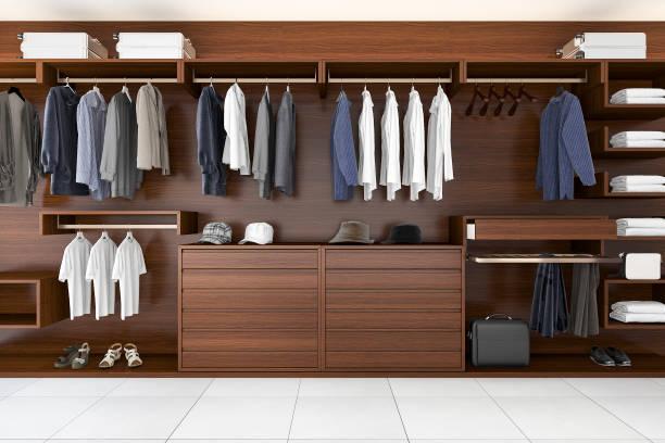 3d-rendering schöne holz horizontale kleiderschrank und begehbaren kleiderschrank - garderobe mit schuhschrank stock-fotos und bilder