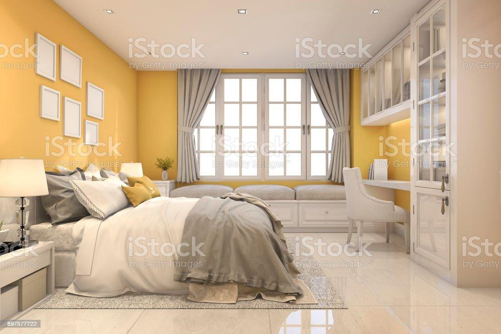 Picture of: 3d Rendering Beautiful Yellow Vintage Kid Bedroom Stock Photo Download Image Now Istock