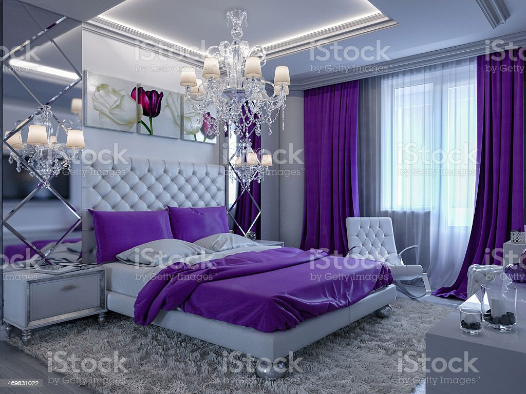 3d rendering bedroom with purple accents stock photo