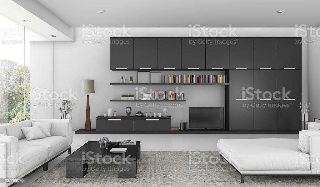 Super 3D Rendering Black Built In Shelf In Living Room Stock Photo Home Interior And Landscaping Fragforummapetitesourisinfo