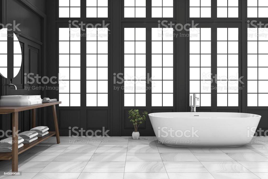 3d rendering black classic bathroom with luxury style near window stock photo