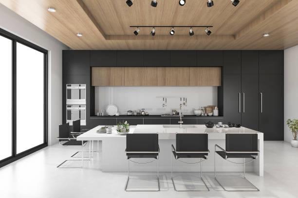 3d rendering schwarze küche mit holzdecke - raumteiler weiß stock-fotos und bilder