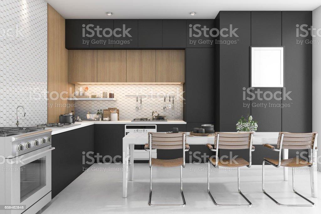 Cocina 3d De Renderizado Negro Con Diseño De Madera Foto de stock y ...