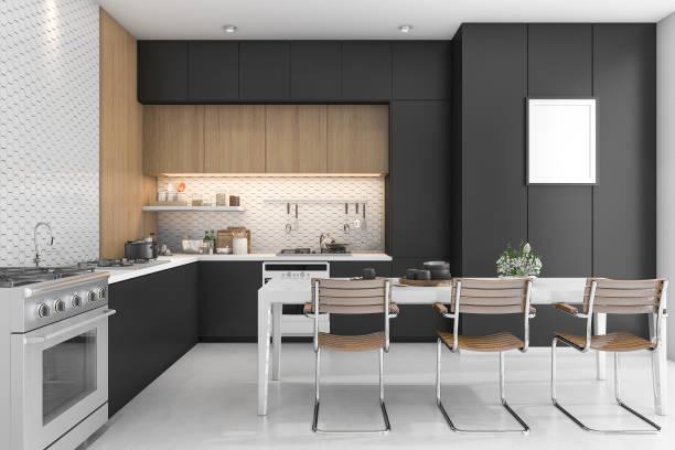 3D Rendering schwarze Küche mit Holzdesign – Foto