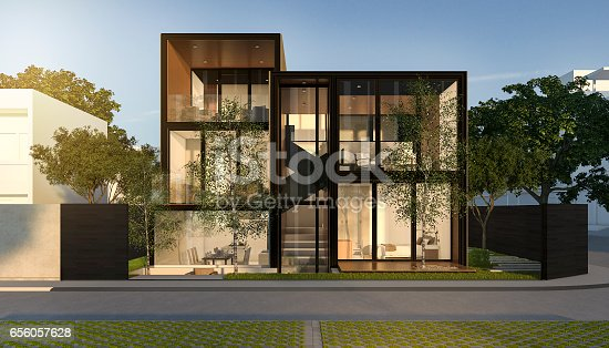 istock 3d rendering black loft modern house in summer 656057628
