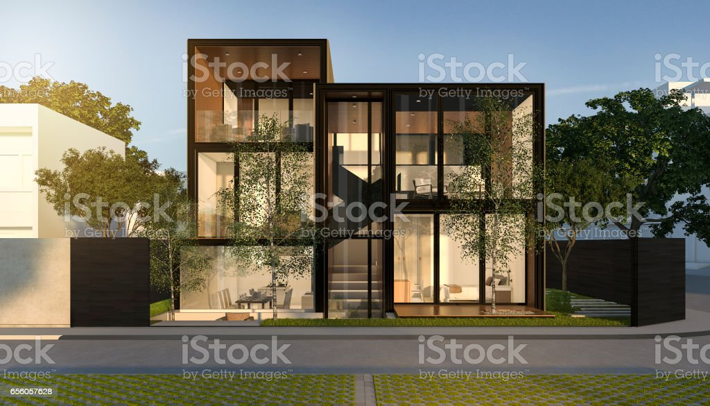 3d rendering black loft modern house in summer stock photo