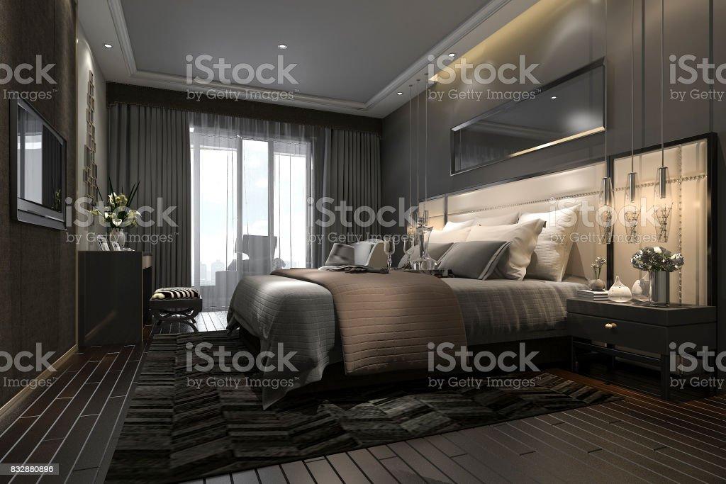 3d Rendering Black Luxury Modern Bedroom Suite In Hotel And ...